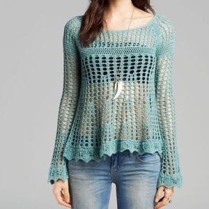 Free People • Annabelle Crochet Pullover Mint